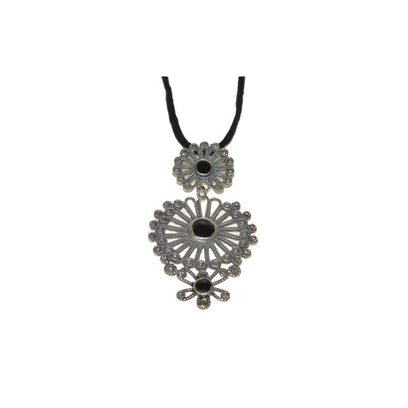 925 Silver and Jet Pendant