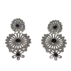 925 silver and jet stone earrings