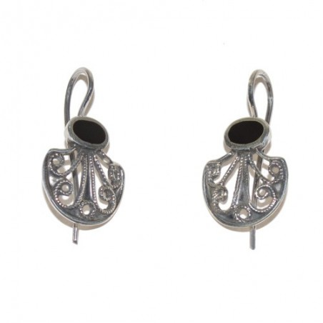 Way of Saint James Silver and Jet Shell Earrings