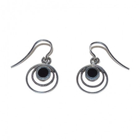 925 Silver and Jet Earrings