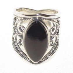 925 Silver and Jet Ring