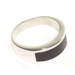 925 silver and jet modern design ring
