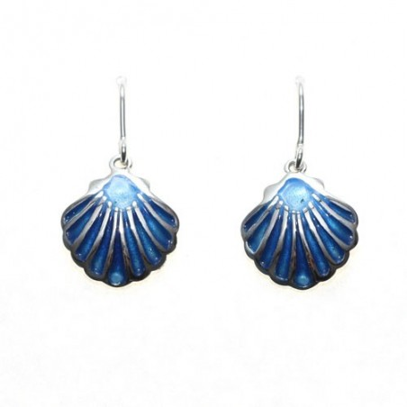 925 silver and enamel shell earrings