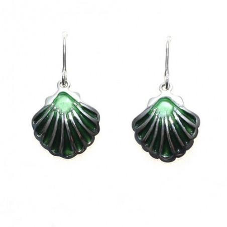 925 silver and enamel shell earrings