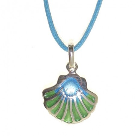 925 silver and enamel scallop shell necklace