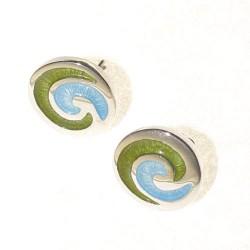 Pendientes de plata y esmalte Espiral