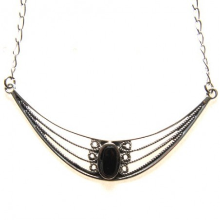 925 Silver and Jet Stone Necklace