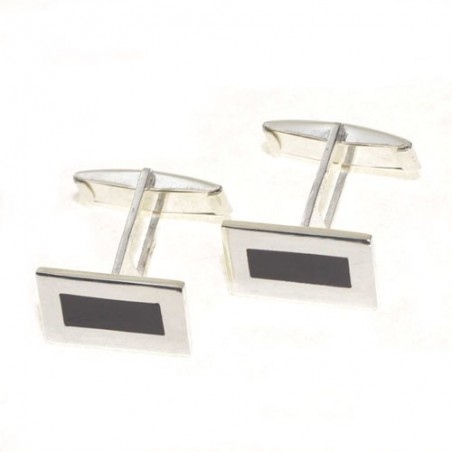 925 silver and jet cufflinks