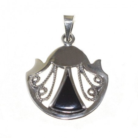Way of Saint James Silver and Jet Shell Pendant