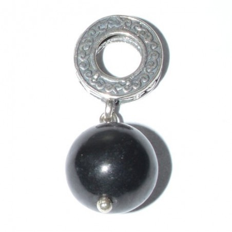 925 Silver Jet Stone bead charm